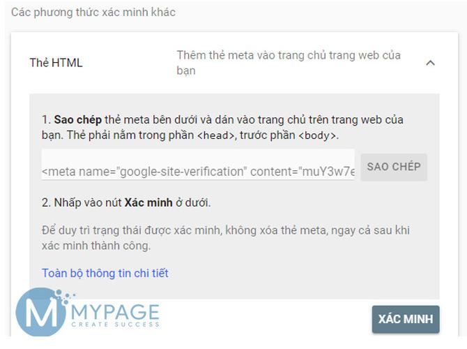 Dùng thẻ HTML xác nhận quyền sở hữu web
