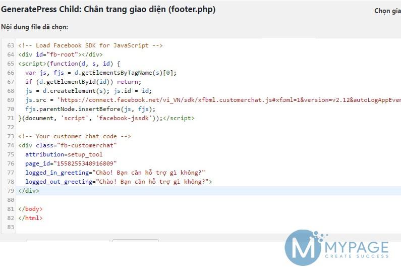 Hướng dẫn chèn mã code chat facebook vào website không dùng plugin