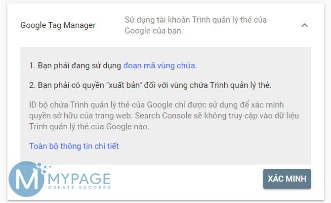 Xác nhận quyền sở hữu trang web từ Google Tag Manager